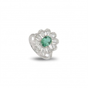 White Gold Emerald and Diamond Flower Ring